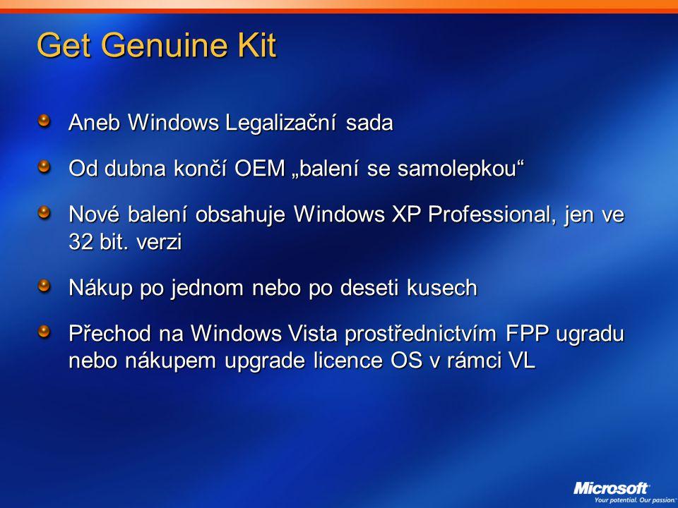 """Get Genuine Kit Aneb Windows Legalizační sada Od dubna končí OEM """"balení se samolepkou Nové balení obsahuje Windows XP Professional, jen ve 32 bit."""