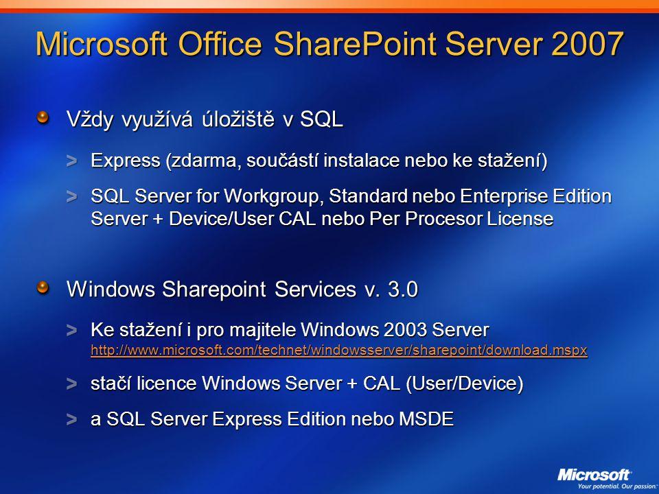 Microsoft Office SharePoint Server 2007 Vždy využívá úložiště v SQL Express (zdarma, součástí instalace nebo ke stažení) SQL Server for Workgroup, Standard nebo Enterprise Edition Server + Device/User CAL nebo Per Procesor License Windows Sharepoint Services v.