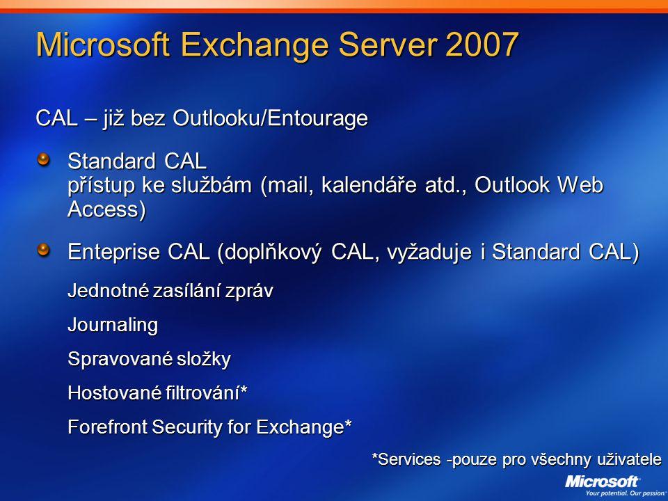 Microsoft Exchange Server 2007 CAL – již bez Outlooku/Entourage Standard CAL přístup ke službám (mail, kalendáře atd., Outlook Web Access) Enteprise CAL (doplňkový CAL, vyžaduje i Standard CAL) Jednotné zasílání zpráv Journaling Spravované složky Hostované filtrování* Forefront Security for Exchange* *Services -pouze pro všechny uživatele