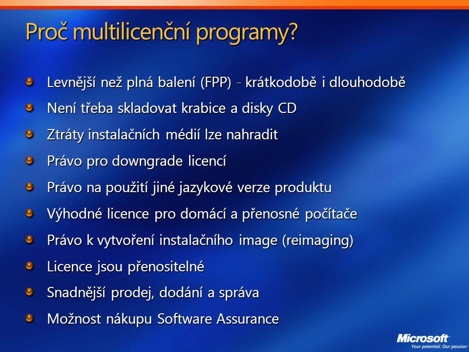 Proč multilicenční programy.