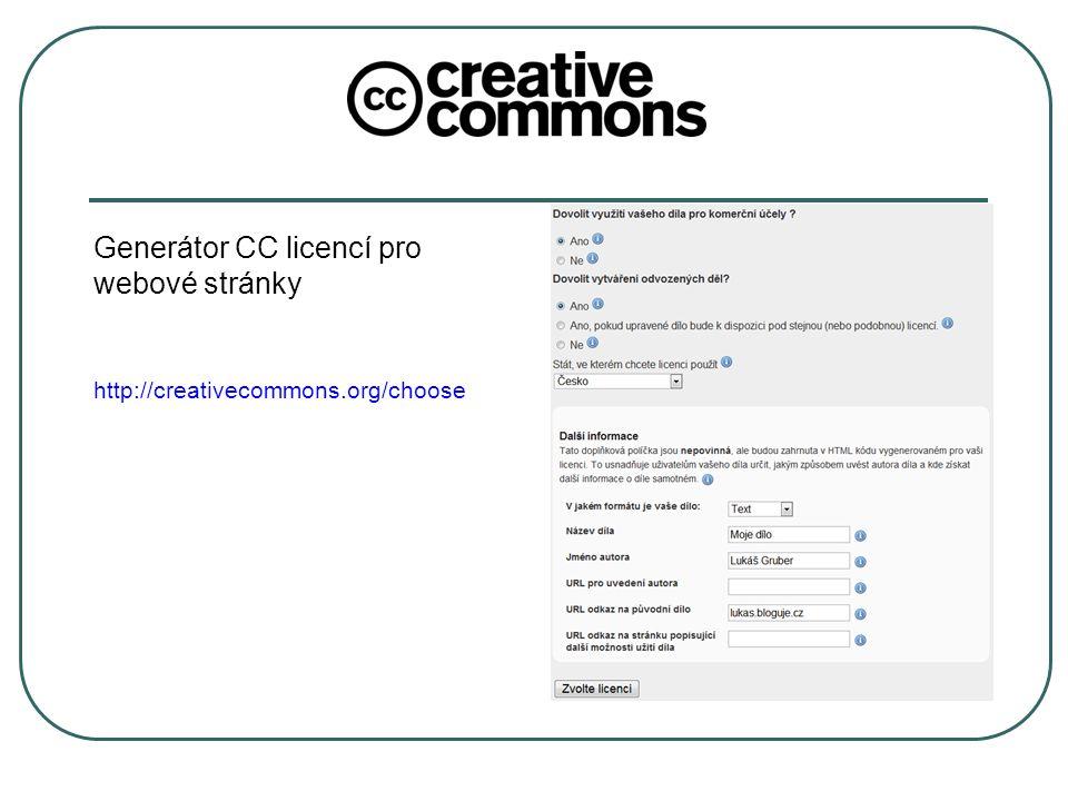 Generátor CC licencí pro webové stránky http://creativecommons.org/choose