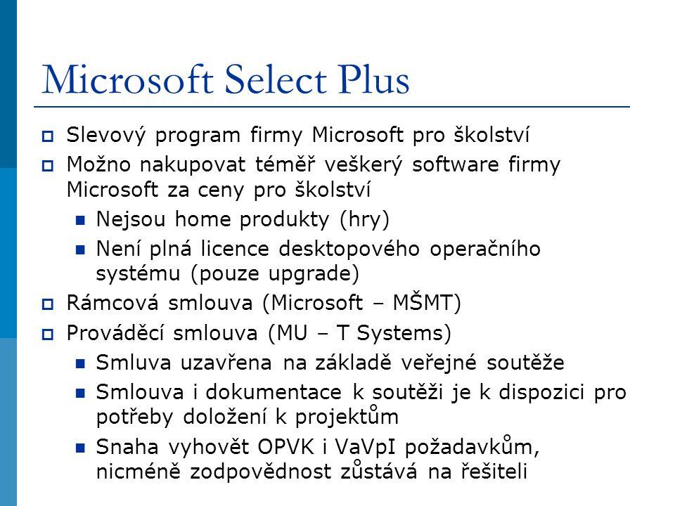 Microsoft Select Plus  Slevový program firmy Microsoft pro školství  Možno nakupovat téměř veškerý software firmy Microsoft za ceny pro školství Nejsou home produkty (hry) Není plná licence desktopového operačního systému (pouze upgrade)  Rámcová smlouva (Microsoft – MŠMT)  Prováděcí smlouva (MU – T Systems) Smluva uzavřena na základě veřejné soutěže Smlouva i dokumentace k soutěži je k dispozici pro potřeby doložení k projektům Snaha vyhovět OPVK i VaVpI požadavkům, nicméně zodpovědnost zůstává na řešiteli