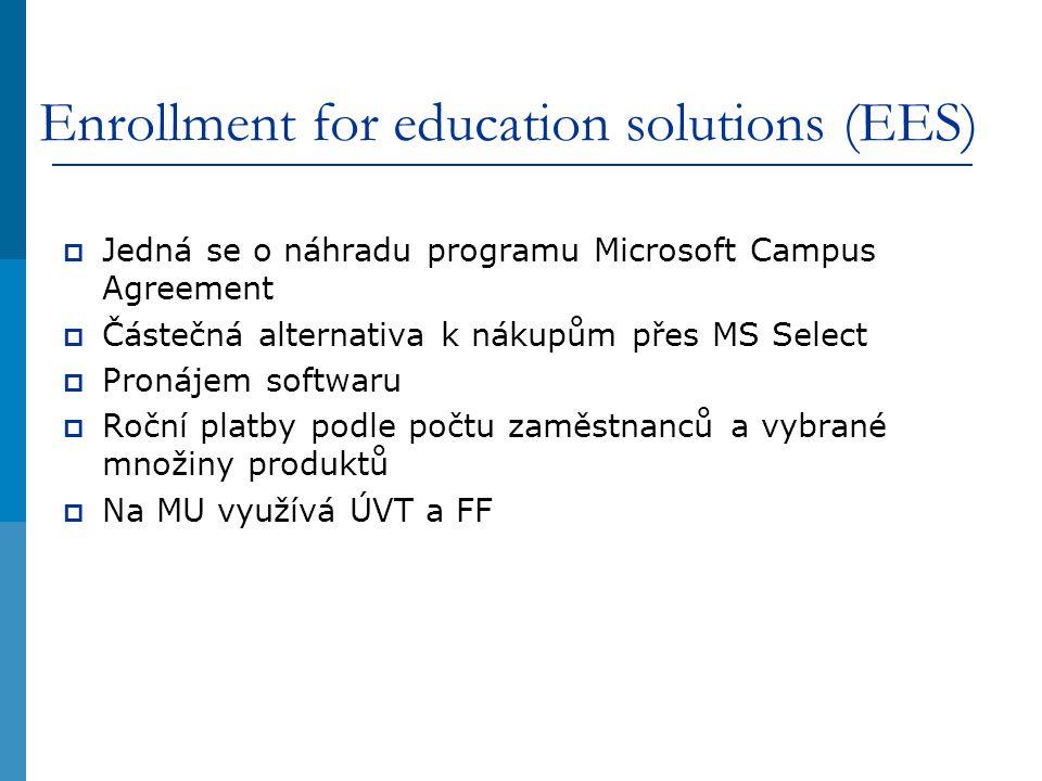 Enrollment for education solutions (EES)  Jedná se o náhradu programu Microsoft Campus Agreement  Částečná alternativa k nákupům přes MS Select  Pronájem softwaru  Roční platby podle počtu zaměstnanců a vybrané množiny produktů  Na MU využívá ÚVT a FF