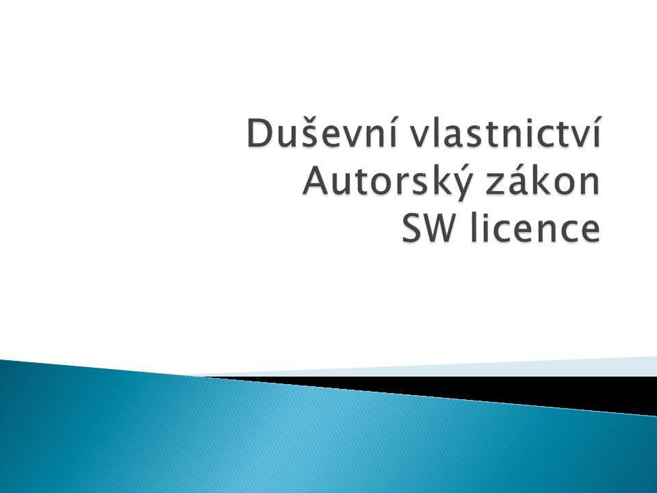  výhradní práva k nakládání s díly, vynálezy a jinými nehmotnými výsledky procesu lidské tvořivosti, zkoumání a myšlení  Hodnota práv k duševnímu vlastnictví je většinou hůře určitelná než u fyzického majetku  Právo týkající se duševního vlastnictví se v ČR sestává ze dvou celků:  1) autorské právo (autorský zákon)  2) právo průmyslového vlastnictví (vynálezy, zlepšováky atd..)