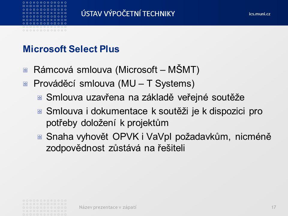 ÚSTAV VÝPOČETNÍ TECHNIKY ics.muni.cz Microsoft Select Plus Rámcová smlouva (Microsoft – MŠMT) Prováděcí smlouva (MU – T Systems) Smlouva uzavřena na z