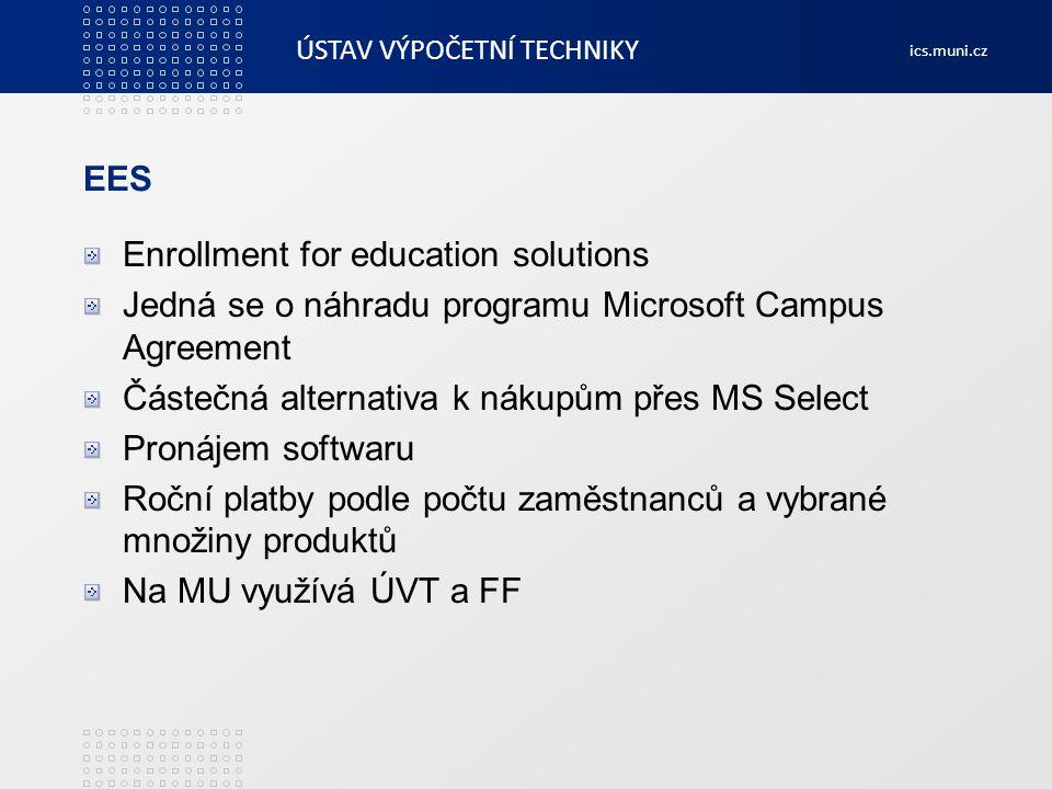ÚSTAV VÝPOČETNÍ TECHNIKY ics.muni.cz EES Enrollment for education solutions Jedná se o náhradu programu Microsoft Campus Agreement Částečná alternativ