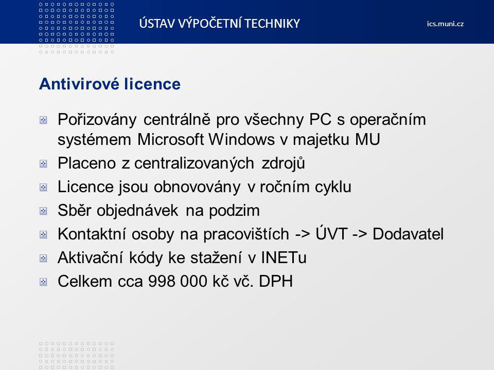 ÚSTAV VÝPOČETNÍ TECHNIKY ics.muni.cz Antivirové licence Pořizovány centrálně pro všechny PC s operačním systémem Microsoft Windows v majetku MU Placen