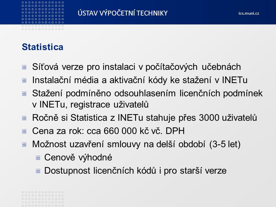 ÚSTAV VÝPOČETNÍ TECHNIKY ics.muni.cz IBM SPSS Statistics Statistický software firmy ACREA CR Pořizováno z centralizovaných zdrojů Neomezená licence Mohou používat všichni zaměstnance i studenti Možno instalovat na počítače MU i domácí počítače uživatelů Smlouva pětiletá, do konce roku 2013 Licenční kódy i pro starší verze Síťová verze pro instalaci v počítačových učebnách