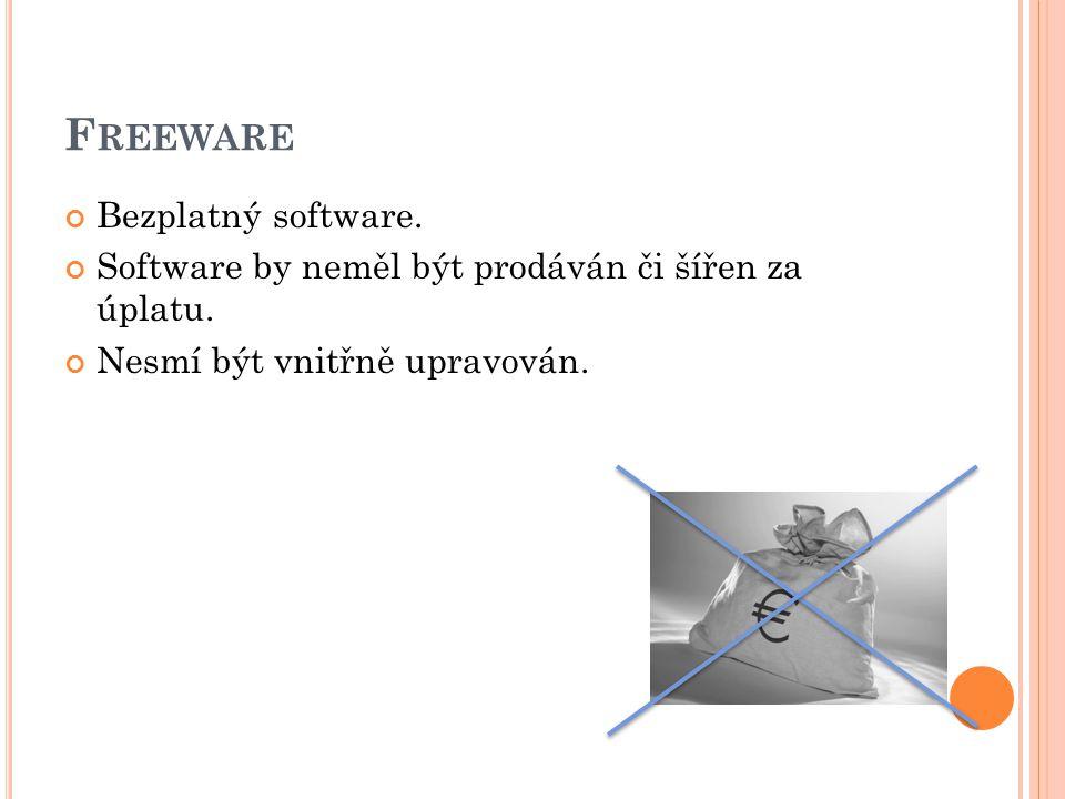 F REEWARE Bezplatný software. Software by neměl být prodáván či šířen za úplatu.