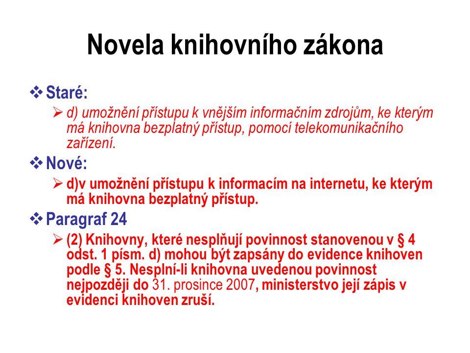 Novela knihovního zákona  Staré:  d) umožnění přístupu k vnějším informačním zdrojům, ke kterým má knihovna bezplatný přístup, pomocí telekomunikačního zařízení.