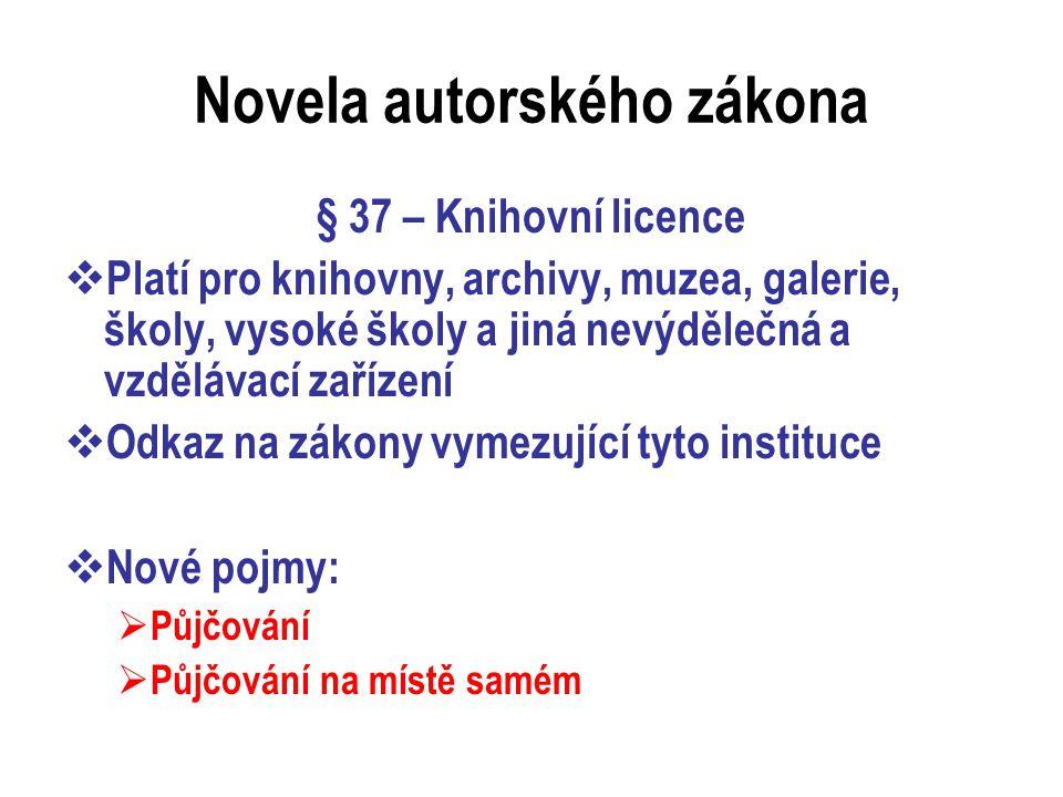 Půjčování 1  Zpřesnění definice půjčování – fyzické i právnické osoby  Půjčování dokumentů mezi knihovnami v rámci MVS není půjčováním  Půjčování tištěných dokumentů (knih)  Zákonná licence – povinnost platit poplatek 0,50 Kč za každou výpůjčku, úhrada za 70% výpůjček  Neplatí se za prezenční výpůjčky  Osvobození od poplatků: školní a vysokoškolské knihovny, NK, MZK, STK, NLK…  Poplatky za knihovny hrazeny ze státního rozpočtu prostřednictvím NK  NIPOS – celková statistická data, vybrané knihovny – předávání výpůjčních dat Dilii