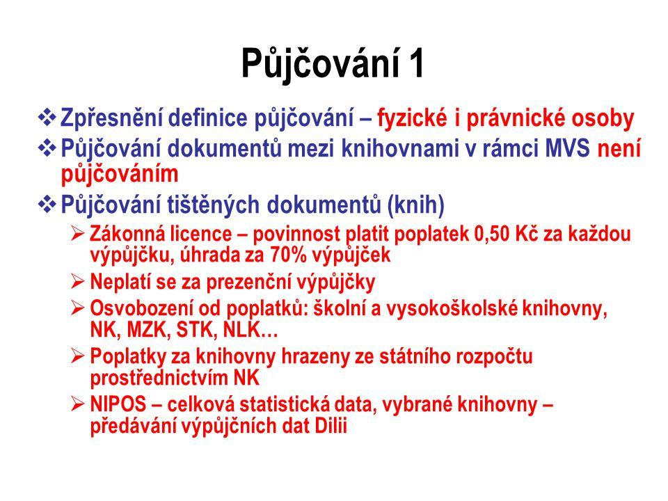 Půjčování 2  Půjčování zvukových dokumentů - smlouva o půjčování  Půjčování zvukově obrazových dokumentů a databází – licence pouze na prezenční půjčování  Půjčování počítačových programů – možno půjčit dokumenty, kde počítačový program není samostatným předmětem prodeje  Možnost půjčovat CD, které obsahují text, obraz a ovládací počítačový program  Půjčování kopií zhotovených pro archivní účely  Mikrofilmy - prezenčně  Ostatní – prezenčně – různé výklady  Půjčování vysokoškolských prací – autor může zakázat  Půjčování pro zdravotně postižené – bez omezení ve vztahu k postižení