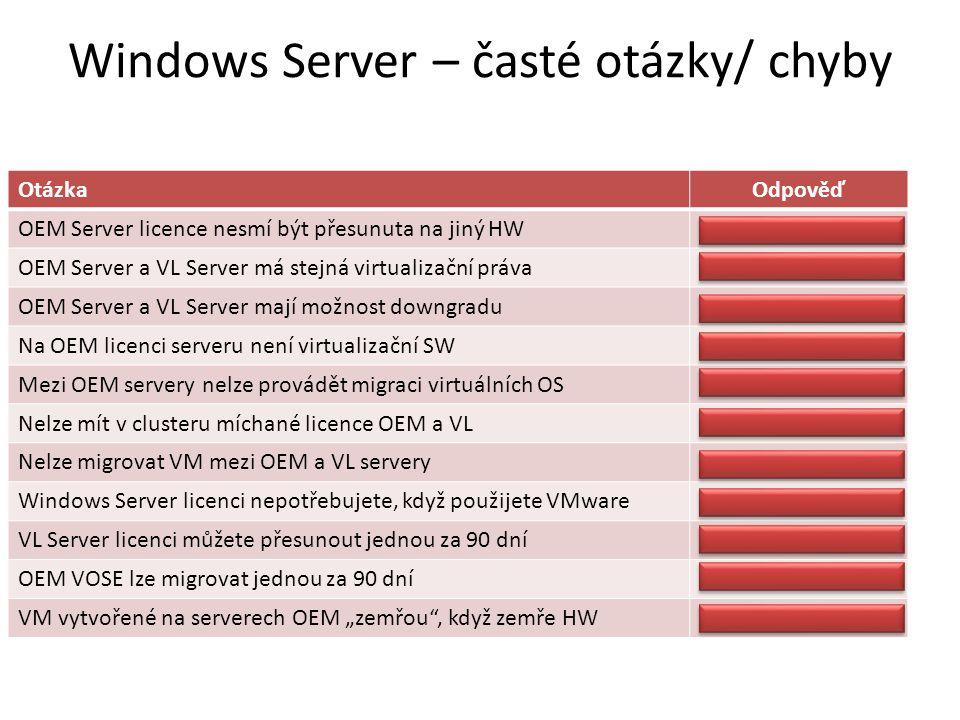 """Windows Server – časté otázky/ chyby OtázkaOdpověď OEM Server licence nesmí být přesunuta na jiný HWNesmí OEM Server a VL Server má stejná virtualizační právaAno OEM Server a VL Server mají možnost downgraduAno Na OEM licenci serveru není virtualizační SWJe (Hyper-V) Mezi OEM servery nelze provádět migraci virtuálních OSLze Nelze mít v clusteru míchané licence OEM a VLLze Nelze migrovat VM mezi OEM a VL serveryLze Windows Server licenci nepotřebujete, když použijete VMwarePotřebujete VL Server licenci můžete přesunout jednou za 90 dníAno, ne dříve OEM VOSE lze migrovat jednou za 90 dníKdykoliv VM vytvořené na serverech OEM """"zemřou , když zemře HWMůže být přesunuto"""