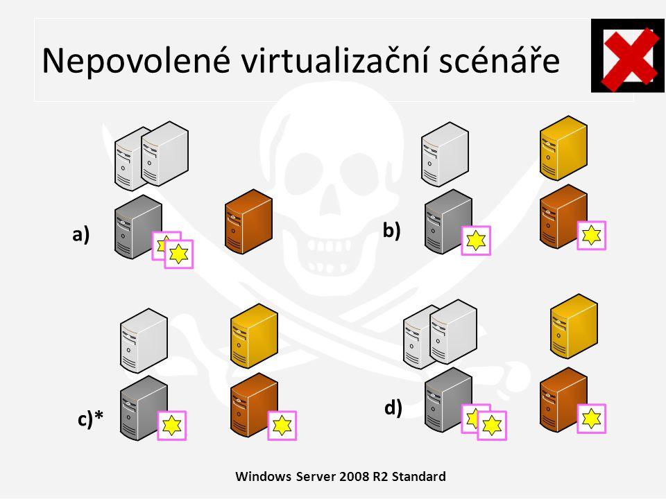Windows Server 2008 R2 Enterprise 1+4 = při virtualizaci slouží POSE pouze ke spuštění až 4 virtuálních prostředí (přesto není povoleno instalovat server v POSE i VOSE zároveň – ikdyby nedošlo k překročení 4 OSE) povoleno: migrovat VOSE tak, aby nikdy nebyl překročen počet max.