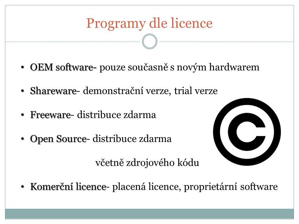 Programy dle licence OEM software- OEM software- pouze současně s novým hardwarem Shareware Shareware- demonstrační verze, trial verze Freeware Freeware- distribuce zdarma Open Source Open Source- distribuce zdarma včetně zdrojového kódu Komerční licence Komerční licence- placená licence, proprietární software