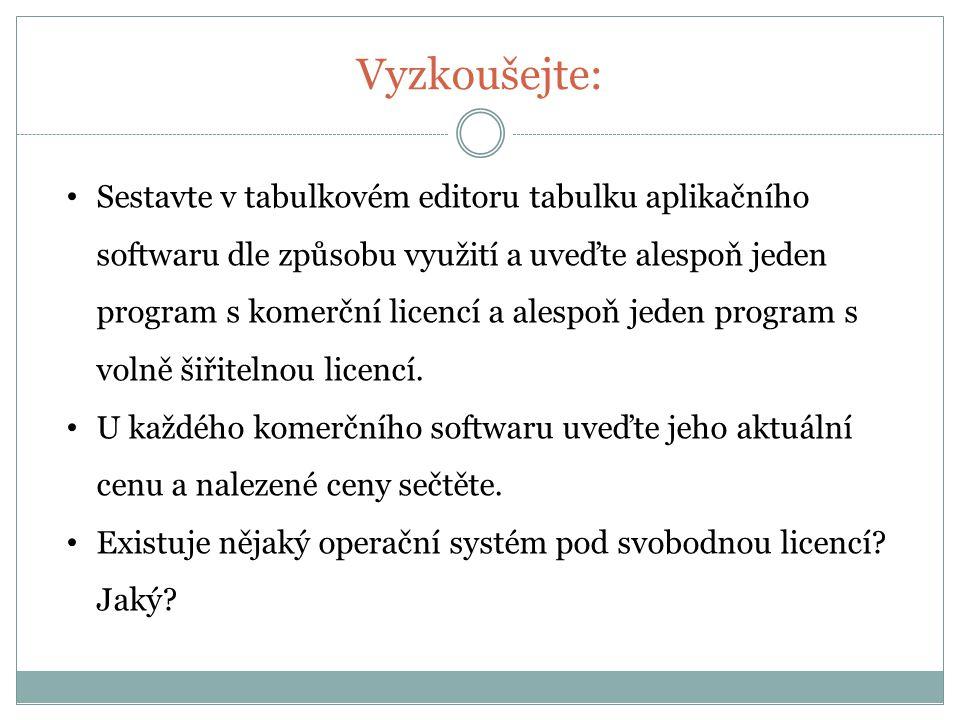 Vyzkoušejte: Sestavte v tabulkovém editoru tabulku aplikačního softwaru dle způsobu využití a uveďte alespoň jeden program s komerční licencí a alespoň jeden program s volně šiřitelnou licencí.