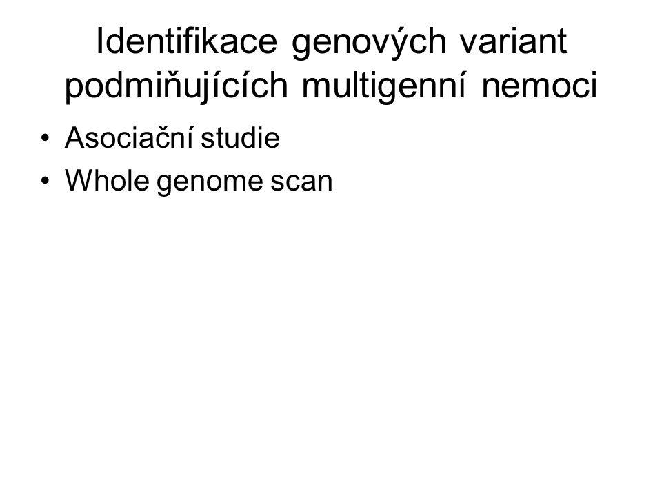 Identifikace genových variant podmiňujících multigenní nemoci Asociační studie Whole genome scan