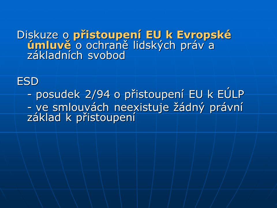 Diskuze o přistoupení EU k Evropské úmluvě o ochraně lidských práv a základních svobod ESD - posudek 2/94 o přistoupení EU k EÚLP - ve smlouvách neexi