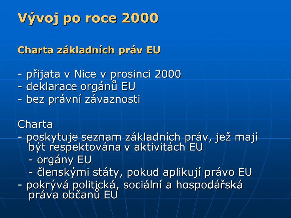 Vývoj po roce 2000 Charta základních práv EU - přijata v Nice v prosinci 2000 - deklarace orgánů EU - bez právní závaznosti Charta - poskytuje seznam