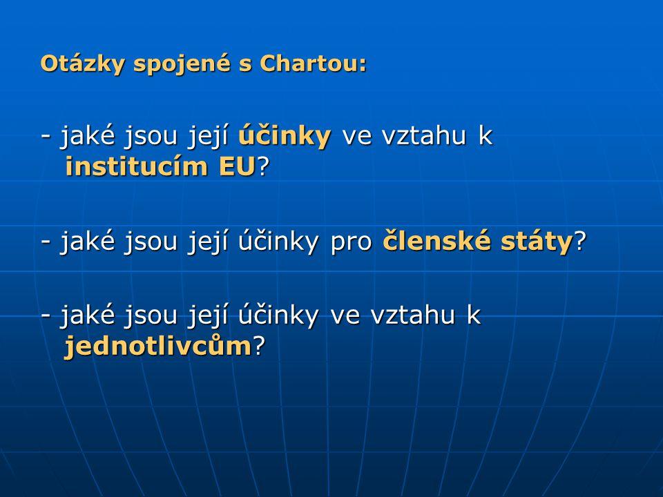 Otázky spojené s Chartou: - jaké jsou její účinky ve vztahu k institucím EU? - jaké jsou její účinky pro členské státy? - jaké jsou její účinky ve vzt