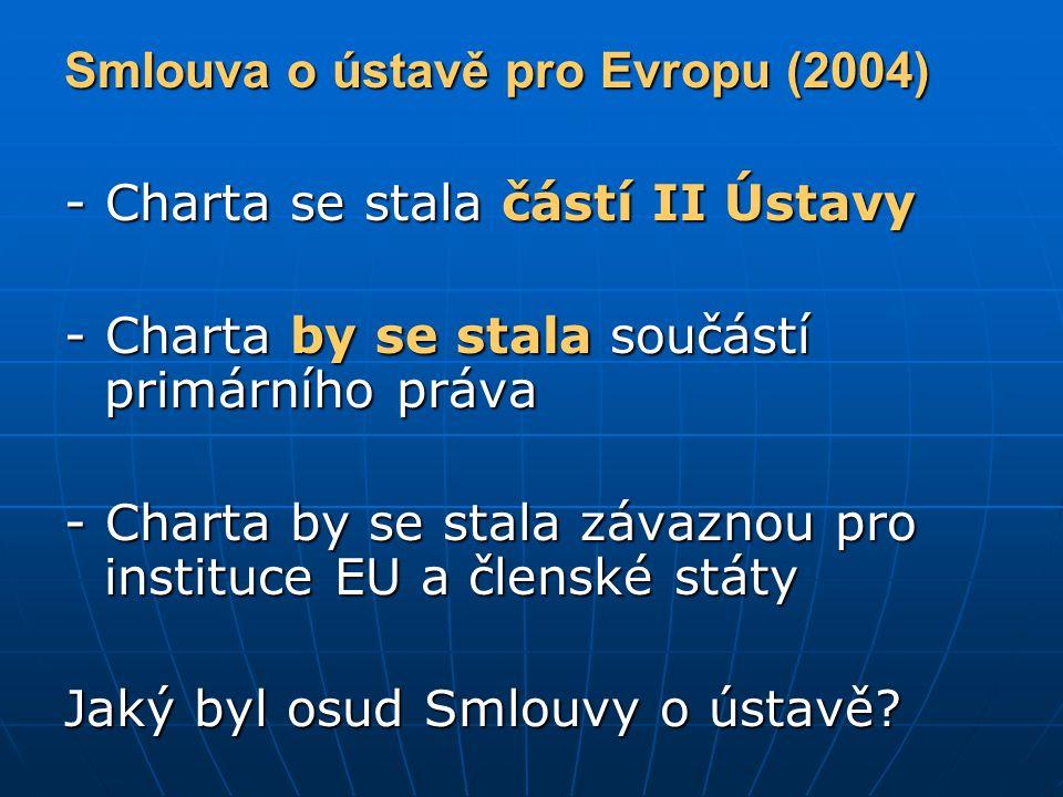 Smlouva o ústavě pro Evropu (2004) - Charta se stala částí II Ústavy - Charta by se stala součástí primárního práva - Charta by se stala závaznou pro