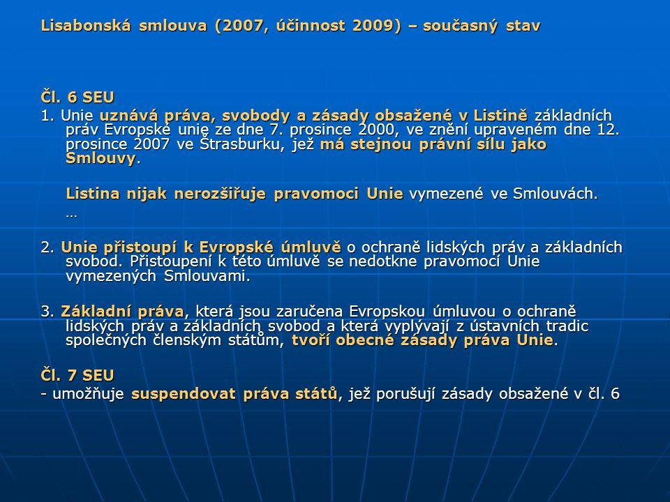 Lisabonská smlouva (2007, účinnost 2009) – současný stav Čl. 6 SEU 1. Unie uznává práva, svobody a zásady obsažené v Listině základních práv Evropské