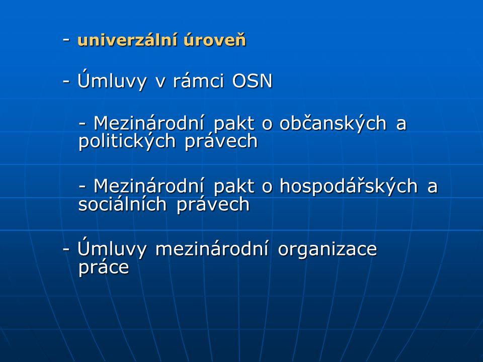 - univerzální úroveň - Úmluvy v rámci OSN - Mezinárodní pakt o občanských a politických právech - Mezinárodní pakt o hospodářských a sociálních právec