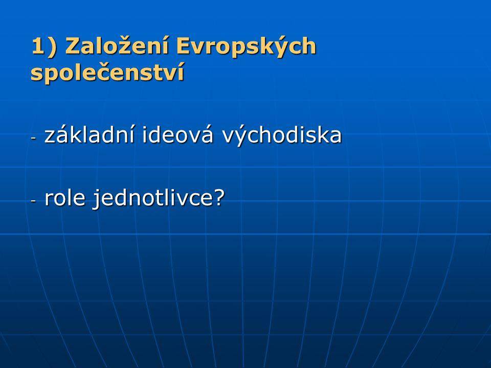 1) Založení Evropských společenství - základní ideová východiska - role jednotlivce?