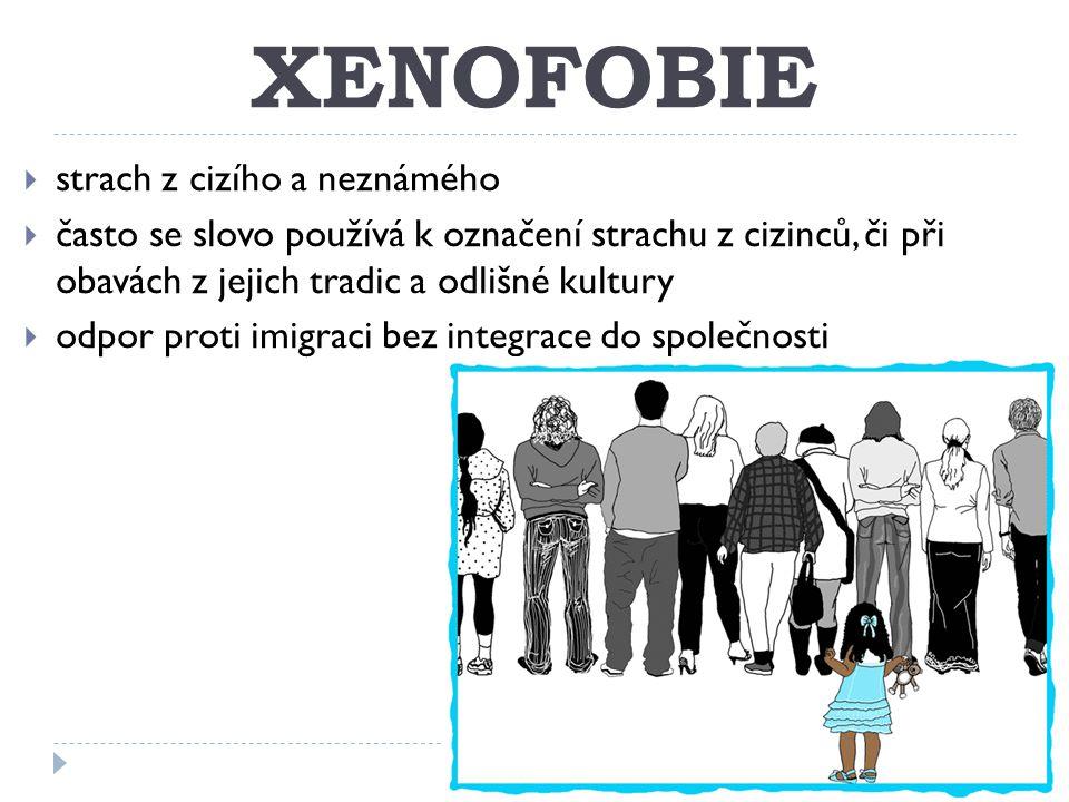 XENOFOBIE  strach z cizího a neznámého  často se slovo používá k označení strachu z cizinců, či při obavách z jejich tradic a odlišné kultury  odpor proti imigraci bez integrace do společnosti