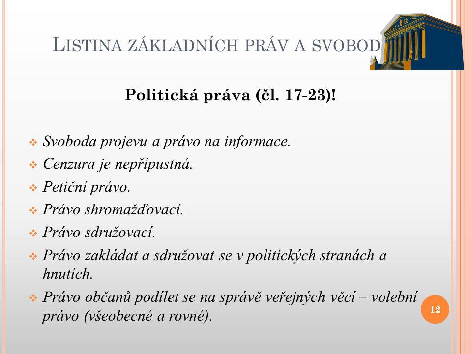 L ISTINA ZÁKLADNÍCH PRÁV A SVOBOD Politická práva (čl. 17-23)!  Svoboda projevu a právo na informace.  Cenzura je nepřípustná.  Petiční právo.  Pr