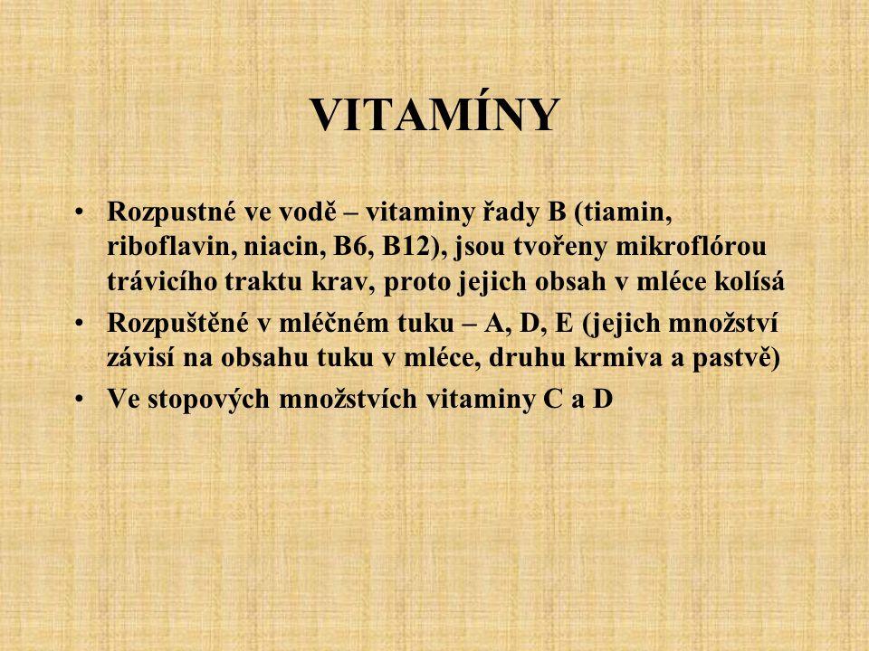 VITAMÍNY Rozpustné ve vodě – vitaminy řady B (tiamin, riboflavin, niacin, B6, B12), jsou tvořeny mikroflórou trávicího traktu krav, proto jejich obsah v mléce kolísá Rozpuštěné v mléčném tuku – A, D, E (jejich množství závisí na obsahu tuku v mléce, druhu krmiva a pastvě) Ve stopových množstvích vitaminy C a D