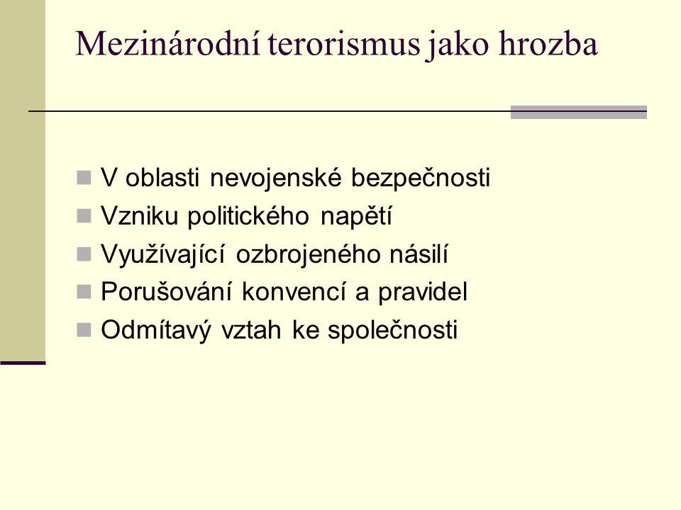 Mezinárodní terorismus jako hrozba V oblasti nevojenské bezpečnosti Vzniku politického napětí Využívající ozbrojeného násilí Porušování konvencí a pra