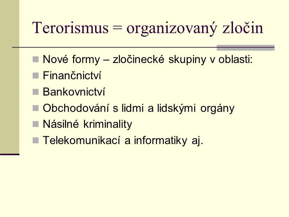 Terorismus = organizovaný zločin Nové formy – zločinecké skupiny v oblasti: Finančnictví Bankovnictví Obchodování s lidmi a lidskými orgány Násilné kr