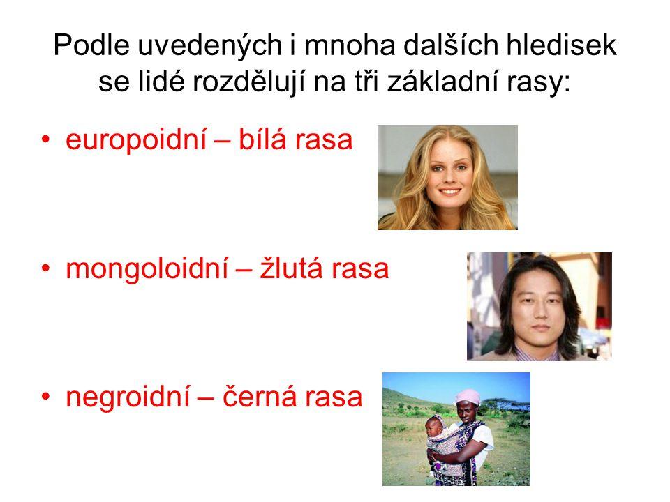 Podle uvedených i mnoha dalších hledisek se lidé rozdělují na tři základní rasy: europoidní – bílá rasa mongoloidní – žlutá rasa negroidní – černá ras