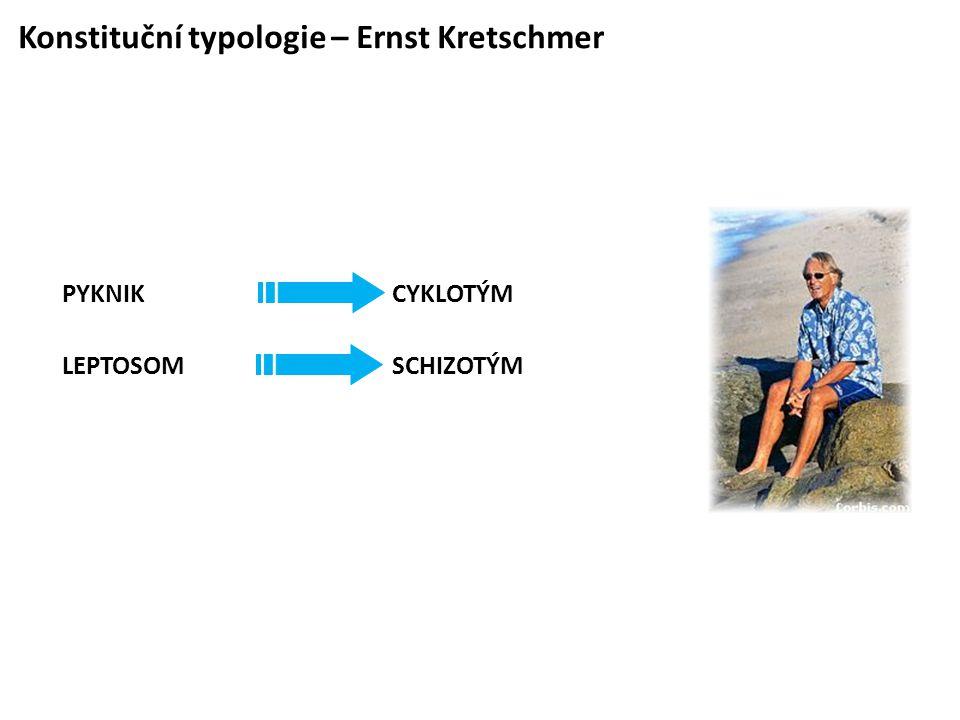Konstituční typologie – Ernst Kretschmer PYKNIK CYKLOTÝM LEPTOSOM SCHIZOTÝM