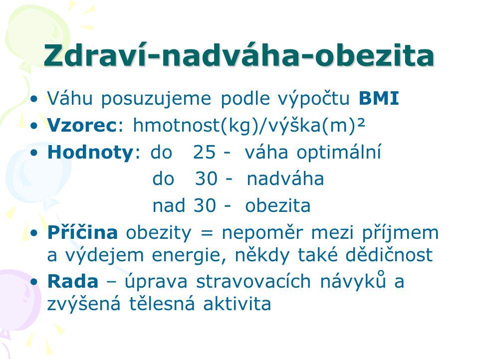 Zdraví-nadváha-obezita Váhu posuzujeme podle výpočtu BMI Vzorec: hmotnost(kg)/výška(m)² Hodnoty: do 25 - váha optimální do 30 - nadváha nad 30 - obezi