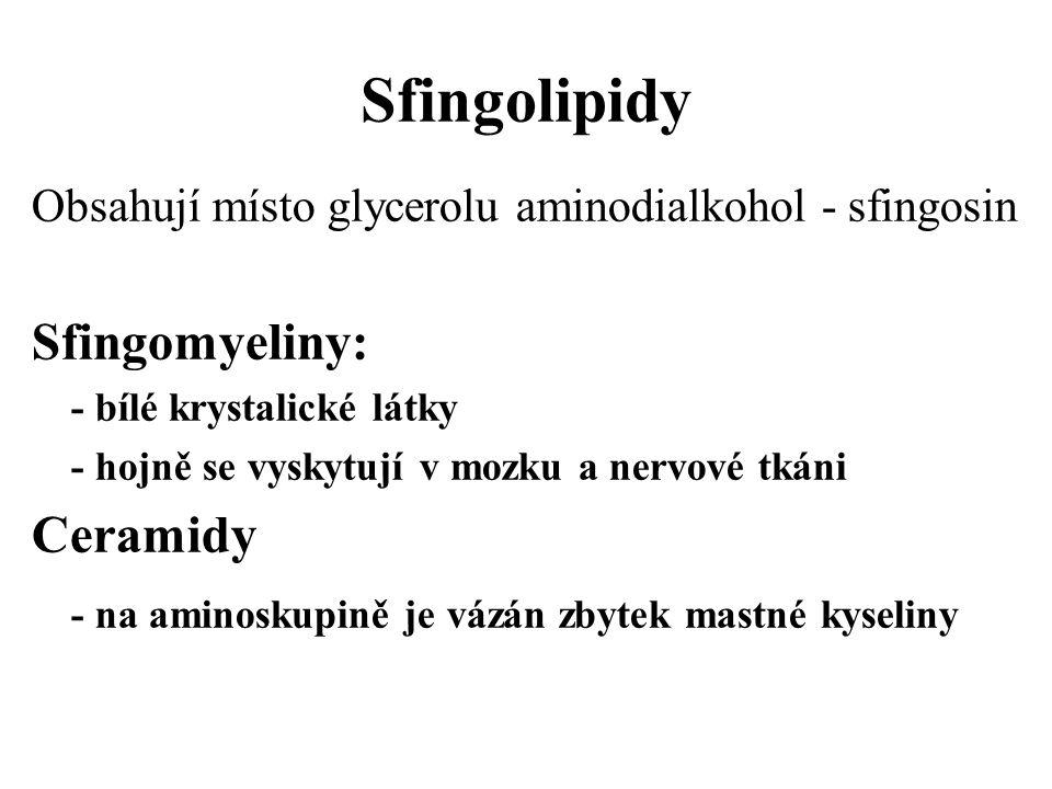 Sfingolipidy Obsahují místo glycerolu aminodialkohol - sfingosin Sfingomyeliny: - bílé krystalické látky - hojně se vyskytují v mozku a nervové tkáni Ceramidy - na aminoskupině je vázán zbytek mastné kyseliny