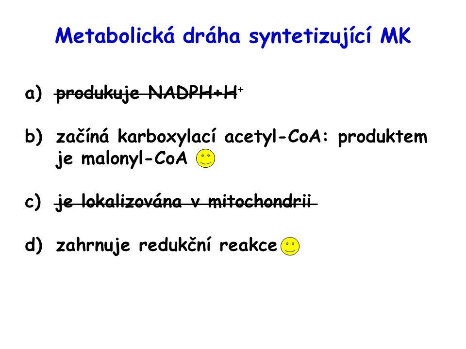 Metabolická dráha syntetizující MK a)produkuje NADPH+H + b)začíná karboxylací acetyl-CoA: produktem je malonyl-CoA c)je lokalizována v mitochondrii d)