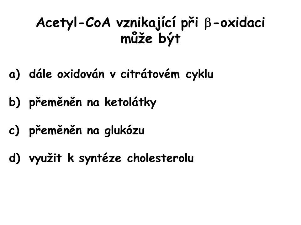 Acetyl-CoA vznikající při  -oxidaci může být a)dále oxidován v citrátovém cyklu b)přeměněn na ketolátky c)přeměněn na glukózu d)využit k syntéze chol