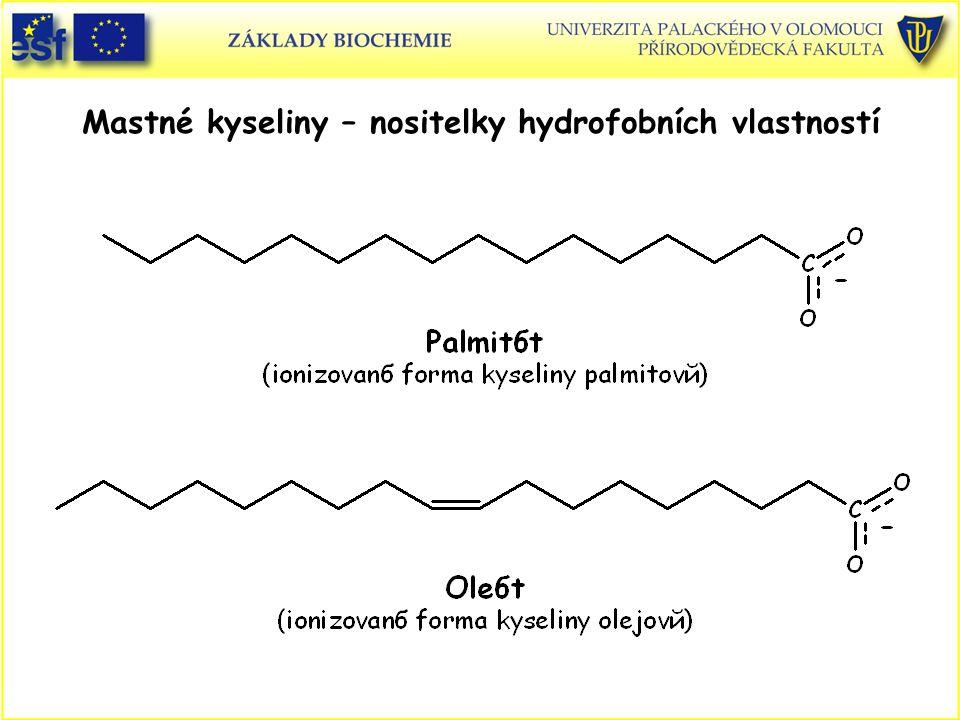 Názvosloví mastných kyselin Nasycená mastná kyselina s 18 atomy C (C 18 ) se nazývá oktadekanová (podle uhlovodíku oktadekanu), s dvojnou vazbou pak oktadekenová a se dvěma dvojnými vazbami oktadekadienová kyselina.