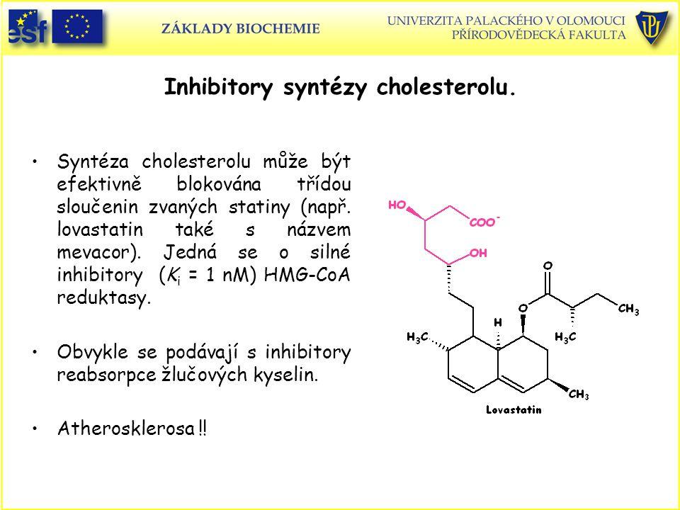 Inhibitory syntézy cholesterolu. Syntéza cholesterolu může být efektivně blokována třídou sloučenin zvaných statiny (např. lovastatin také s názvem me
