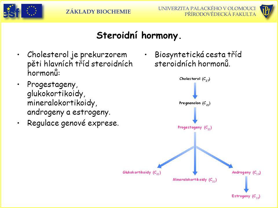 Steroidní hormony. Cholesterol je prekurzorem pěti hlavních tříd steroidních hormonů: Progestageny, glukokortikoidy, mineralokortikoidy, androgeny a e