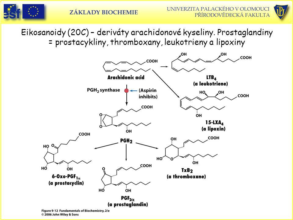 Eikosanoidy (20C) – deriváty arachidonové kyseliny. Prostaglandiny = prostacykliny, thromboxany, leukotrieny a lipoxiny