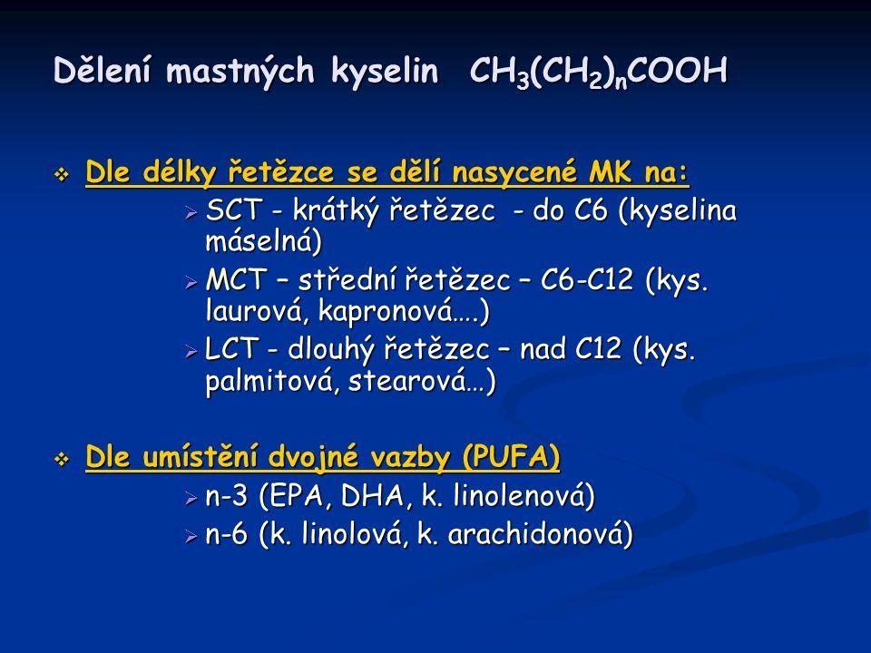 Dělení mastných kyselin CH 3 (CH 2 ) n COOH  Dle délky řetězce se dělí nasycené MK na:  SCT - krátký řetězec - do C6 (kyselina máselná)  MCT – stře