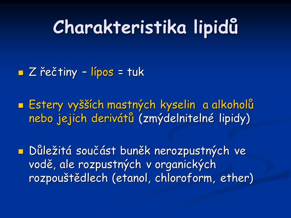 Charakteristika lipidů Z řečtiny – lípos = tuk Z řečtiny – lípos = tuk Estery vyšších mastných kyselin a alkoholů nebo jejich derivátů (zmýdelnitelné