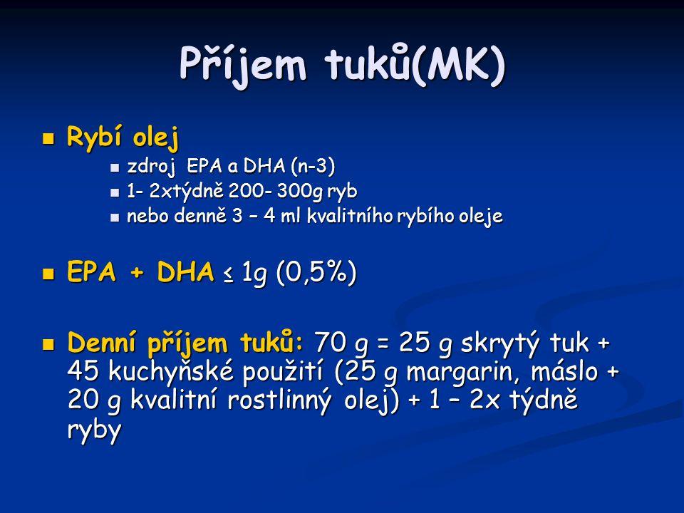 Příjem tuků(MK) Rybí olej Rybí olej zdroj EPA a DHA (n-3) zdroj EPA a DHA (n-3) 1- 2xtýdně 200- 300g ryb 1- 2xtýdně 200- 300g ryb nebo denně 3 – 4 ml