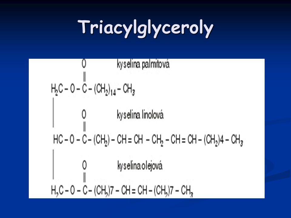 Cholesterol Formy cholesterolu: Formy cholesterolu: Volný – hydrofilní Volný – hydrofilní Esterifikovaný (vazba MK na OH skupině) – hydrofóbní Esterifikovaný (vazba MK na OH skupině) – hydrofóbní Transportní a zásobní (hepatocyty)forma chol Transportní a zásobní (hepatocyty)forma chol Hlavní biologické funkce: Hlavní biologické funkce: Hlavní strukturální součást buněčných membrán Hlavní strukturální součást buněčných membrán Výchozí látka pro výrobu steroidních hormonů Výchozí látka pro výrobu steroidních hormonů Výchozí látka pro syntézu žlučových kyselin Výchozí látka pro syntézu žlučových kyselin Nezbytný pro syntézu všech lipoproteinů ve střevě a játrech Nezbytný pro syntézu všech lipoproteinů ve střevě a játrech