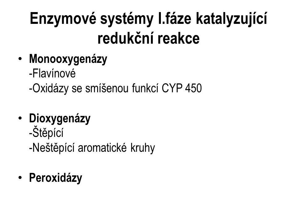 Monooxygenázy -Flavínové -Oxidázy se smíšenou funkcí CYP 450 Dioxygenázy -Štěpící -Neštěpící aromatické kruhy Peroxidázy Enzymové systémy I.fáze katalyzující redukční reakce