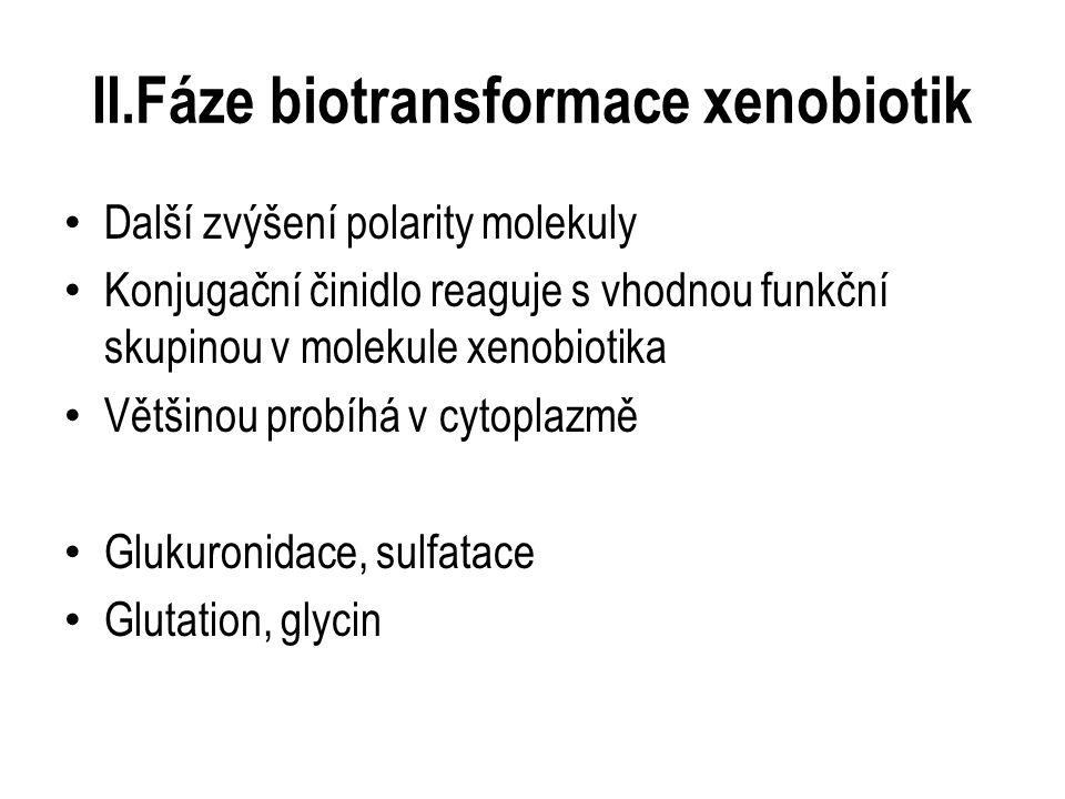 II.Fáze biotransformace xenobiotik Další zvýšení polarity molekuly Konjugační činidlo reaguje s vhodnou funkční skupinou v molekule xenobiotika Většinou probíhá v cytoplazmě Glukuronidace, sulfatace Glutation, glycin