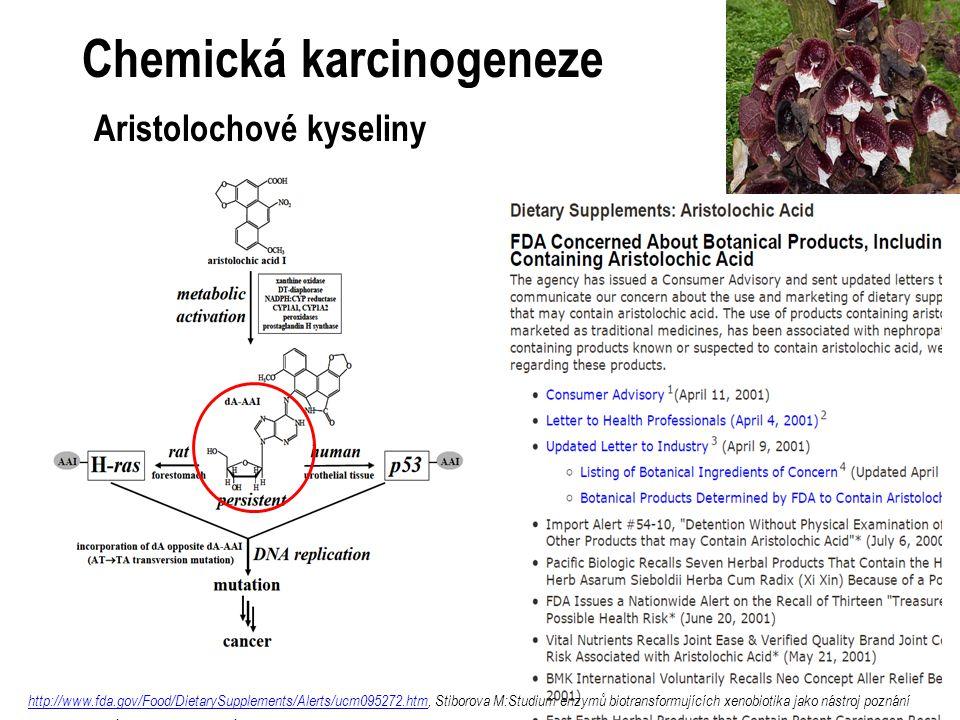 Chemická karcinogeneze Aristolochové kyseliny http://www.fda.gov/Food/DietarySupplements/Alerts/ucm095272.htmhttp://www.fda.gov/Food/DietarySupplements/Alerts/ucm095272.htm, Stiborova M:Studium enzymů biotransformujících xenobiotika jako nástroj poznání mechanizmu působení kancerogenů a konstrukce kancerostatik nové generace.